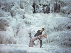 фотосессия у замерзшего водопада
