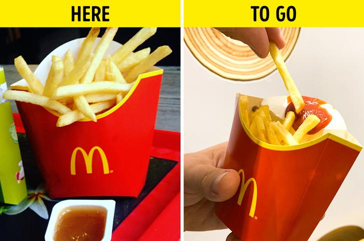 1. Что случилось с контейнером для картофеля фри?
