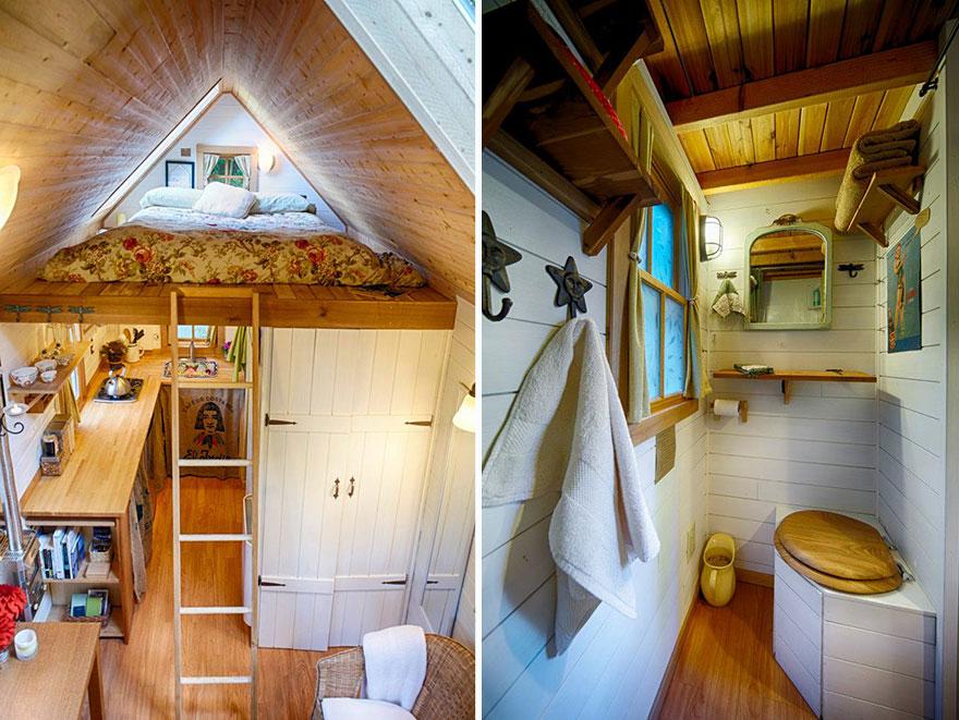 11. На втором ярусе находится спальня. Также есть удобный санузел.