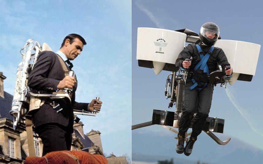 1. В фильме «Шаровая молния» 1965 года Джеймс Бонд (Шон Коннери) использует Jetpack Q, чтобы уйти от погони. Aircraft Company из Новой Зеландии сконструировала свой Jetpack, работающий на бензиновом двигателе и имеющий две турбины для подъема. Максимальная скорость – 96 км/ч, максимальный потолок 1,5 км. Одной полной заправки хватит на 30 минут полета.