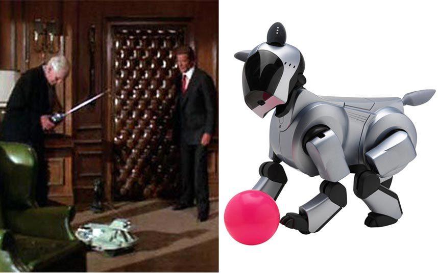4. В фильме «Вид на убийство» 1985 года была продемонстрирована управляемая собака-робот с выдвижной шеей и видеокамерами вместо глаз. Сегодня роботом собакой никого не удивить. Пожалуй, самая популярная – это Sony Aibo, которая умеет выражать эмоции и взаимодействовать с различными электронными устройствами. Производство было остановлено в 2006 году, породив множество доступных на сегодняшний день аналогов.