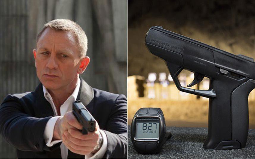 """5. В фильме «007: Координаты """"Скайфолл""""» Джеймс Бонд (Дэниел Крейг) использует закодированный под его руку пистолет. Т.е. стрелять из него может только Бонд. Подобный пистолет был и в фильме «Лицензия на убийство». Немецкая компания Armatix разработала пистолет, стрелять из которого вы сможете только надев специальные радиоуправляемые часы, которые активируют оружие через ПИН-код. Если пистолет потеряет связь с часами, он перестает работать."""