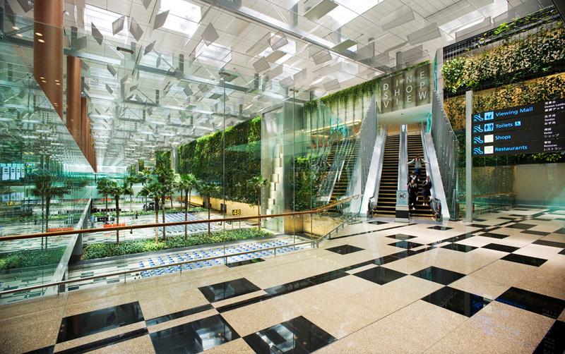 1. Сингапурский аэропорт Чанги. До следующего рейса очень много времени? В аэропорту Чанги действует бесплатный 24-часовой кинотеатр. Также в транзитной зоне вы можете воспользоваться бассейном или полюбоваться на зеленую стену из живых растений.