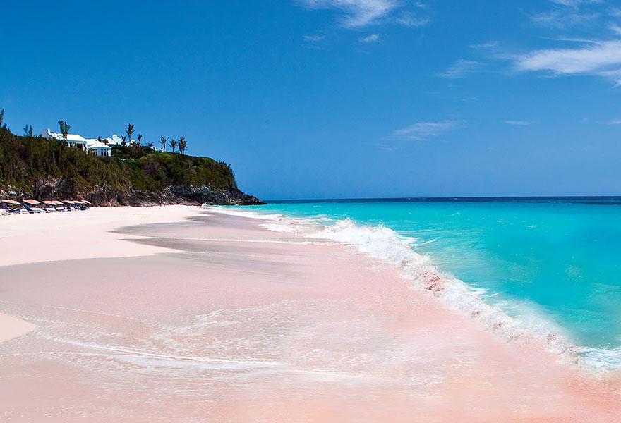 5. Розовый песчаный пляж, Багамские острова.
