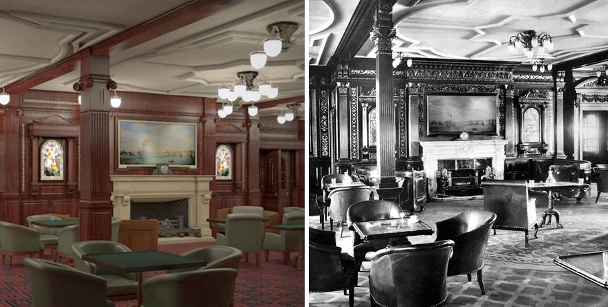 5. Комната для курения, напоминающая лондонский джентльменский клуб, была местом отдыха мужчин.