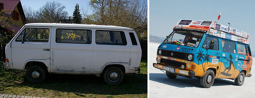 2. «Мы хотели повидать мир, но у нас не хватало денег, поэтому мы купили старый фургон за 600 долларов и превратили его в автомобиль для путешествий».