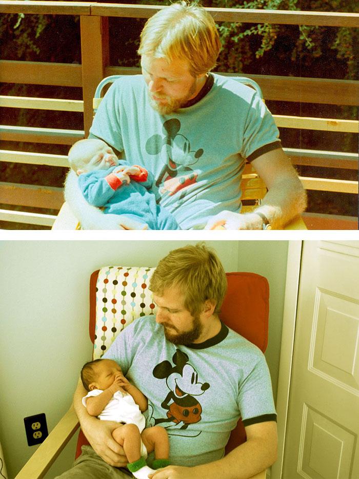 9. Отец с двухнедельным сыном в 29 лет и его 29-летний сын со своим мальчиком, которому акже 2 недели.