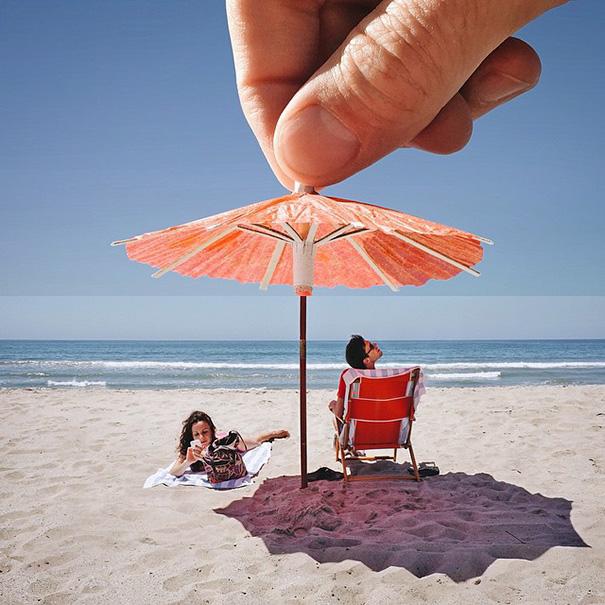 19. Коктейльный зонтик и пляжный зонтик.