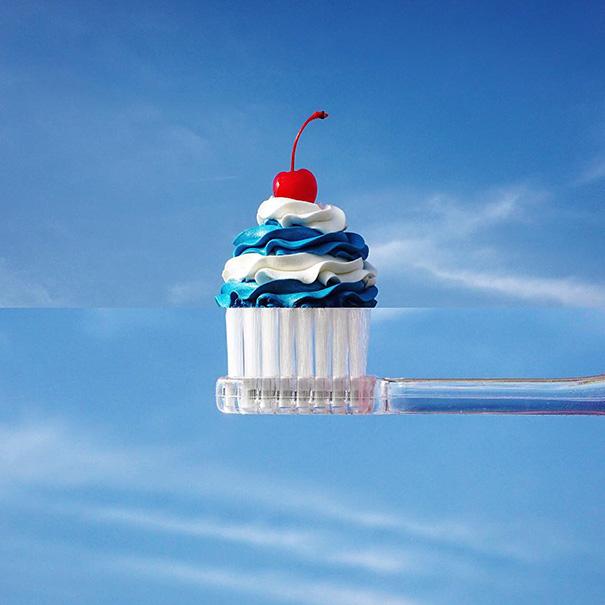 5. Капкейк и зубная щетка.
