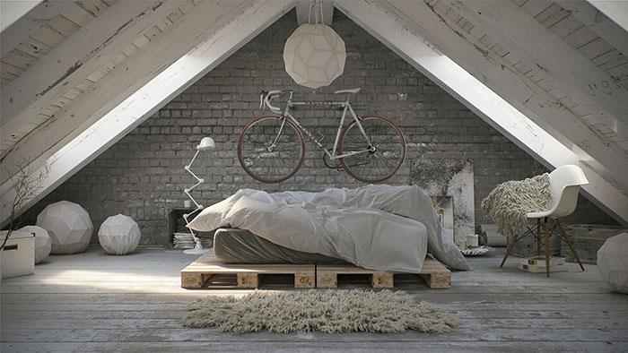 1. Робота дизайнера Michael Feuerroth. Кімната на горищі будинку.
