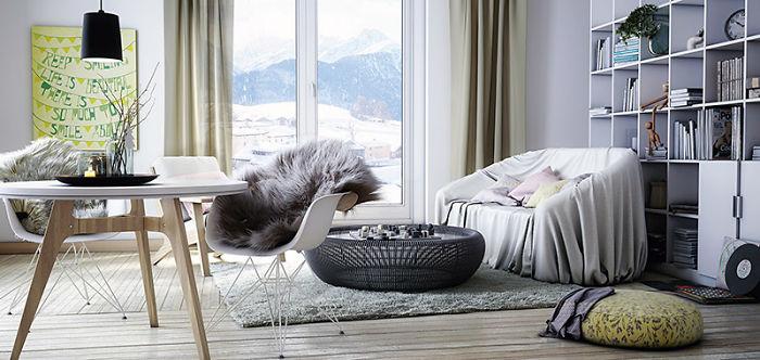 11. Дизайн інтер'єру від Артура Мурадян для квартир з чудовим видом з вікна. Зверніть увагу на хутряні пледи на стільцях.