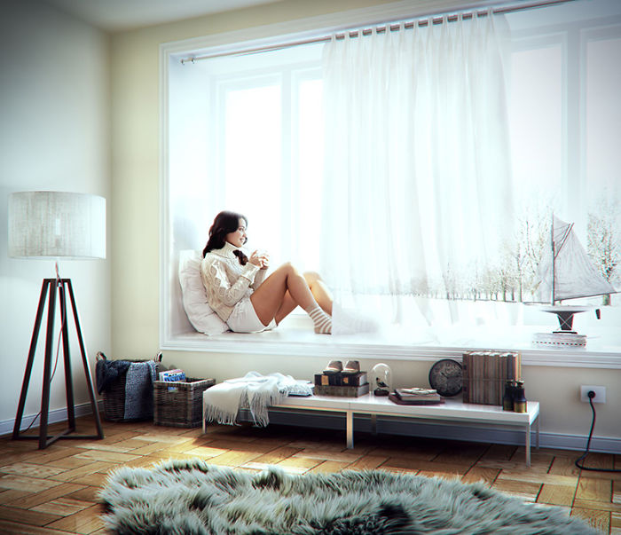 16. Недільний ранок від Фернандо Сальседо. Цю дівчину напевно багато хто знає по фото, яке гуляє в інтернеті. Дизайнер вирішив помістити її в свій 3D інтер'єр кімнати. Вийшло затишно і по домашньому.