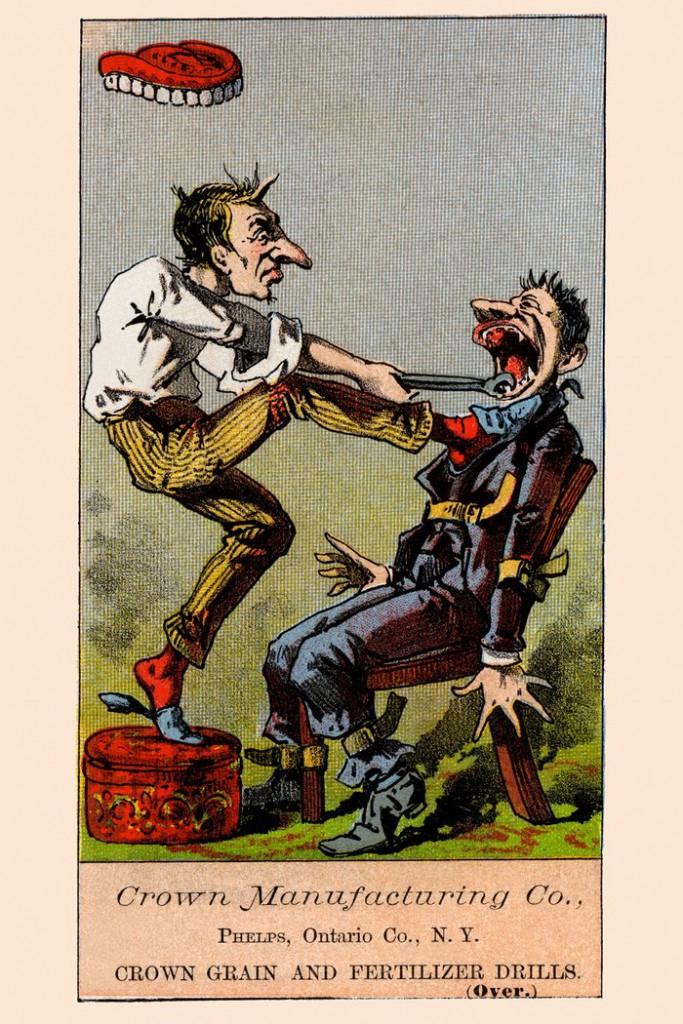 3. Юмористическая карикатура на которой изображен процесс удаления больного зуба. Пациент привязан к креслу ремнями.