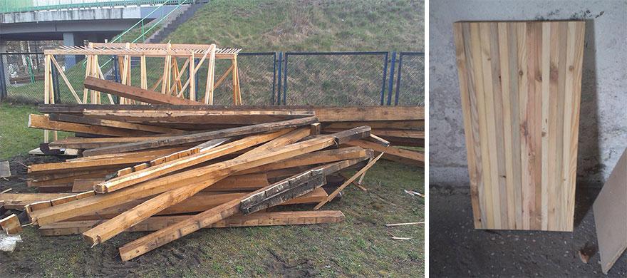 2. Пара забрала деревянные стропила, оставшиеся от снесенного старого здания. Они взяли 15 досок, подогнали их, склеили и отшлифовали.