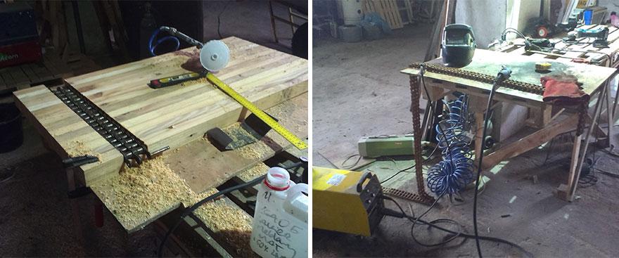 4. Так выглядела работа над ножками стола. Каждое звено цепи было сварено с другим, после чего каждый сварной шов был тщательно отполирован.