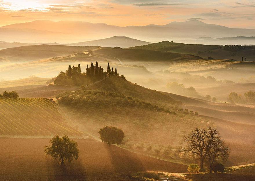 5. «Золотой восход», Тоскана, Италия.