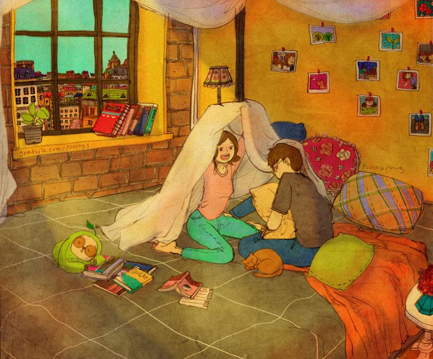 2. Строить домик из одеяла.