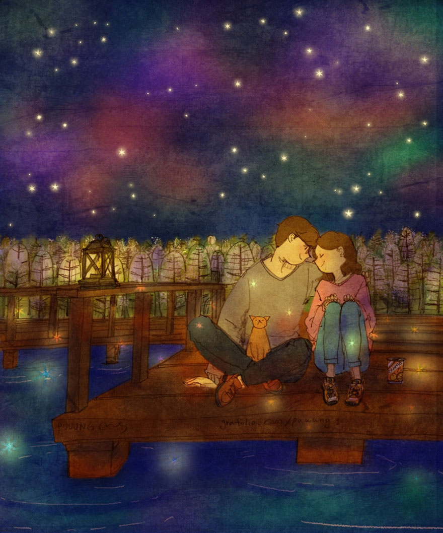 7. Вместе любоваться звездами.