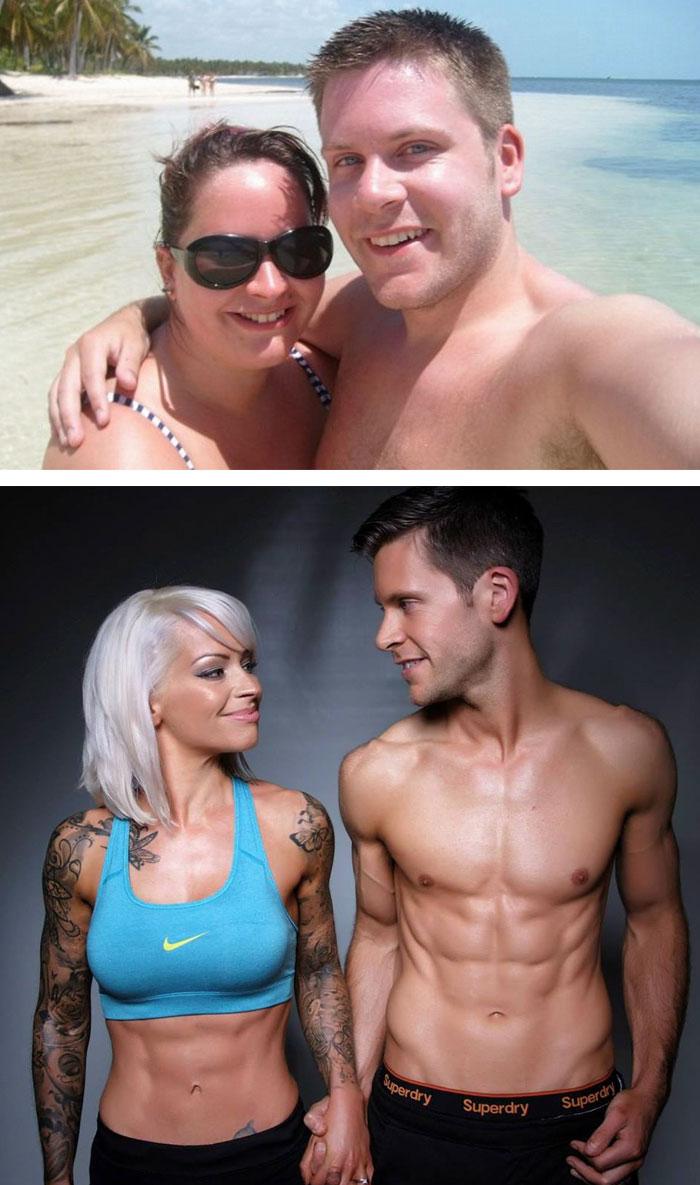 2. Эта пара решила сначала привести себя в форму, а уже потом идти к алтарю. Спустя 5 лет совместных усилий они наконец-то поженились!