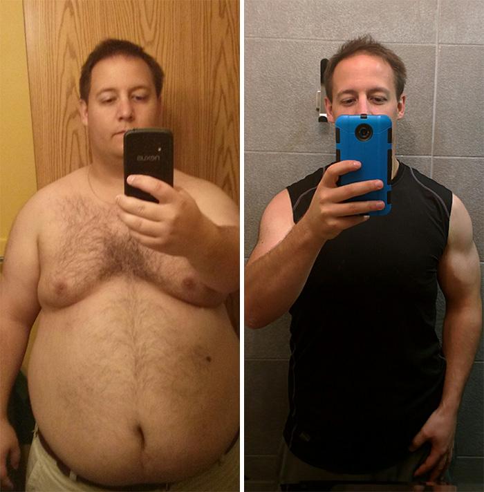 22. Он решил, что огромный живот – не лучшее украшение мужчины, и сбросил 54 кг за 14 месяцев.