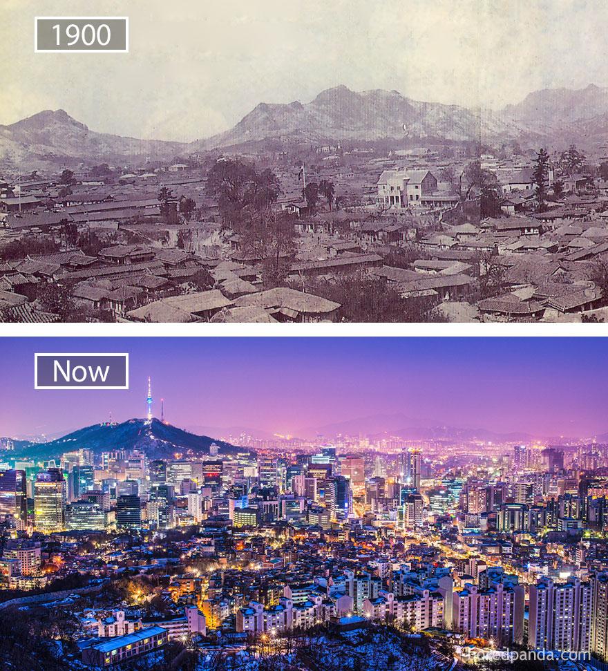 1. Сеул, Южная Корея, в 1900 году и сейчас.