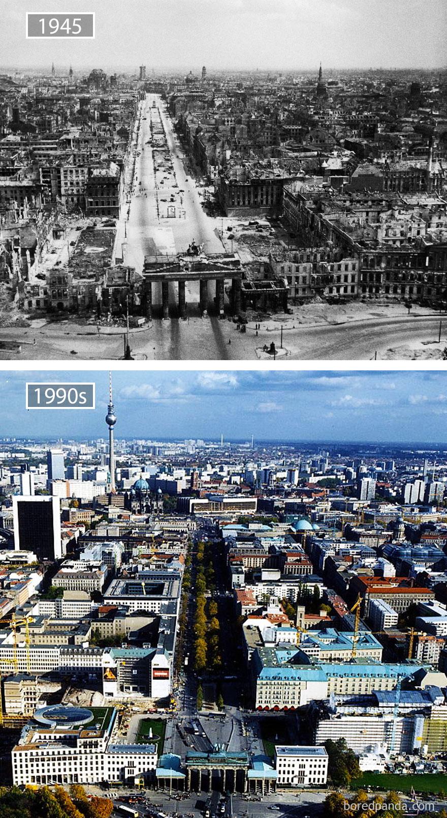 11. Берлин, Германия, в 1945 году и сейчас.