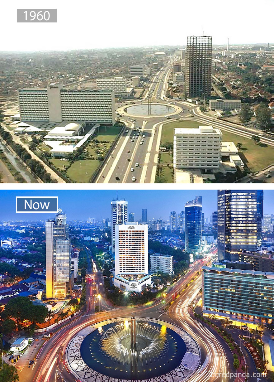 13. Джакарта, Индонезия, в 1960 году и сейчас.