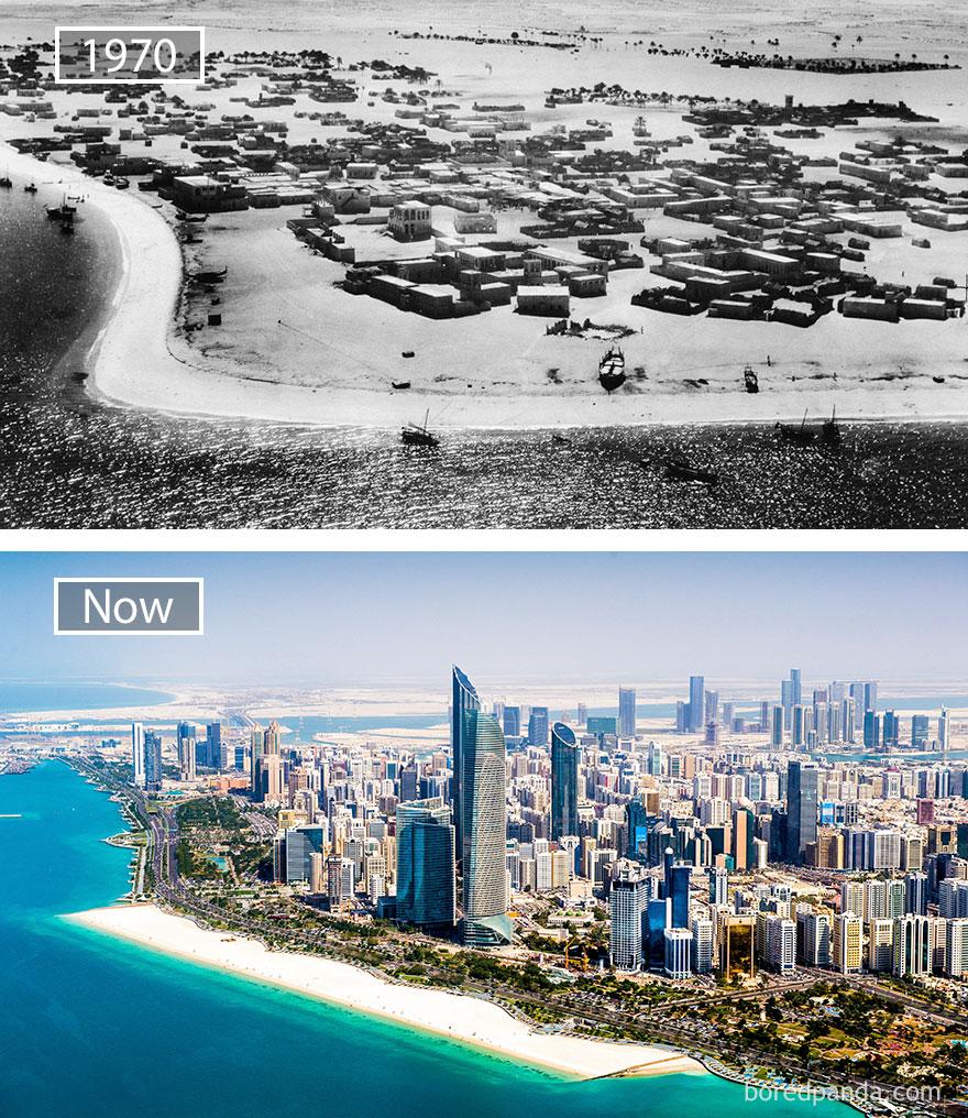 2. Абу-Даби, ОАЭ, в 1970 году и сейчас.