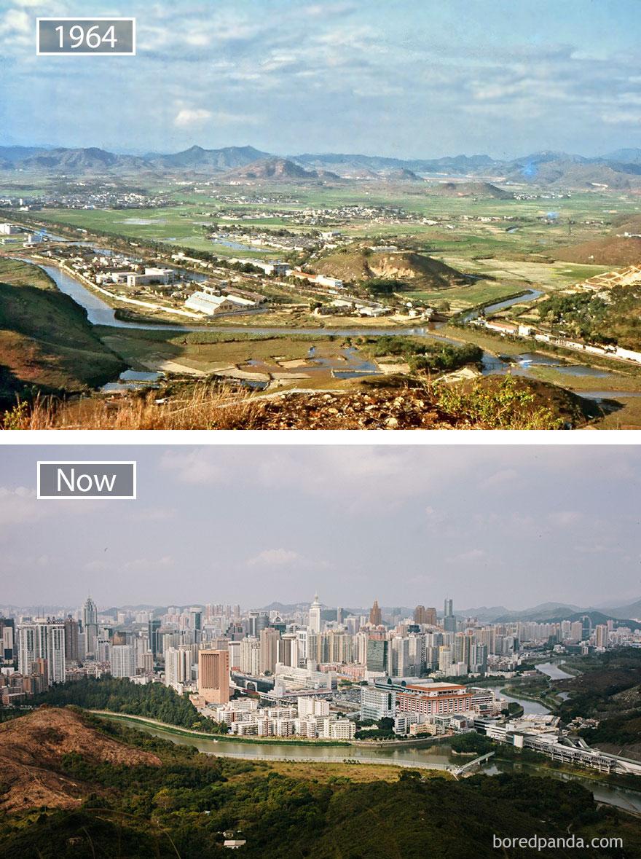 8. Шэньчжэнь, Китай, в 1964 году и сейчас.