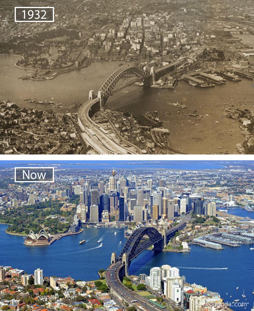 9. Сидней, Австралия, в 1932 году и сейчас.