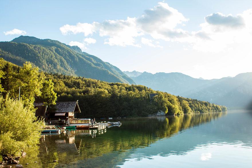 23. Закат на озере Бохинь, Словения.