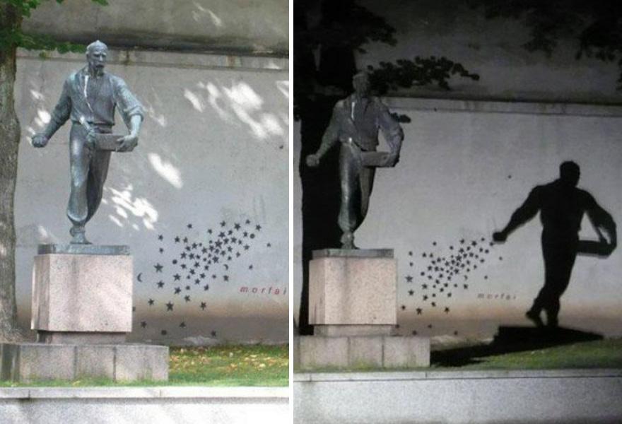11. Теневой стрит-арт, Каунас, Литва.