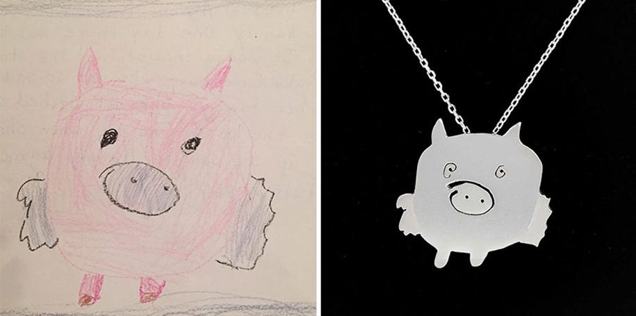3. Он превращает рисунки детей в оригинальные украшения из золота и серебра.