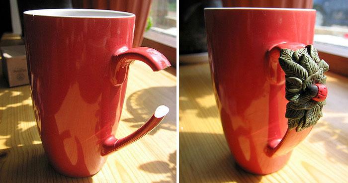 9. А так можно починить сломанную ручку чашки.