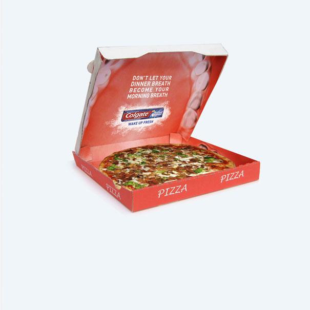 14. Коробка пиццы с напоминанием о том, что после еды нужно чистить зубы. Ну и реклама пасты Colgate.