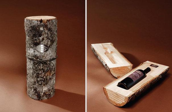 15. Оригинальная коробка для бутылки вина из настоящего деревянного полена. В качестве бревна была выбрана сосна.