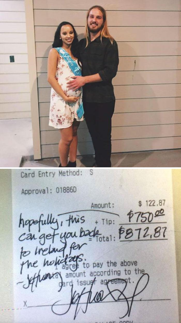 13. Клиент подарил официанту 750 долларов чаевых, чтобы тот вместе с беременной подругой смог полететь на Рождество домой, в Ирландию.