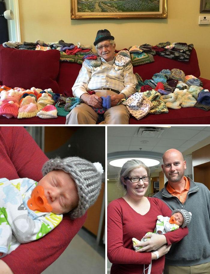 15. 86-летний учитель связал шапочки для недоношенных детей.
