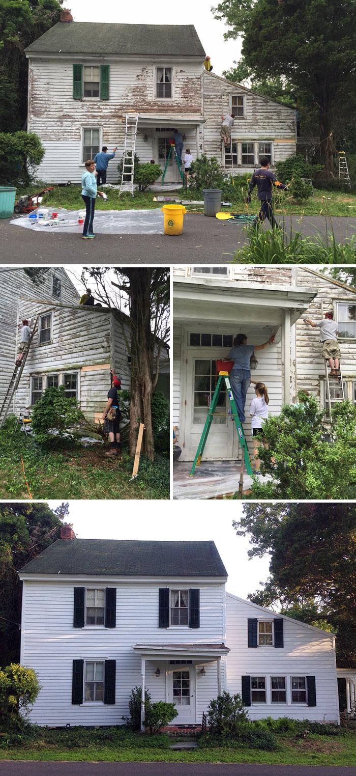 8. Соседи бесплатно ремонтируют дом одинокого учителя-пенсионера.