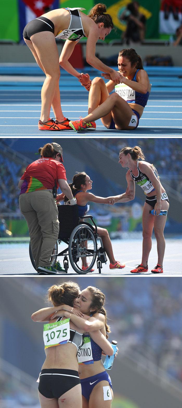 9. Олимпийская бегунья помогает подняться сопернице, получившей травму.