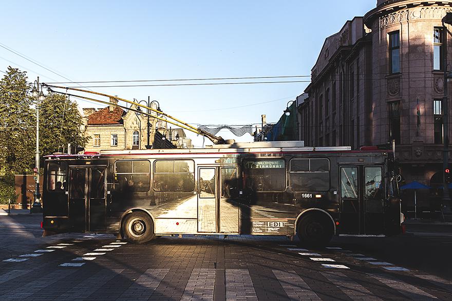 6. А вот и обратная сторона троллейбуса с изображением проспекта Гедиминаса. Троллейбус исчезает и растворяется с городским пейзажем. Наблюдать за пересечением троллейбуса лучше всего в вечернее время в хорошую погоду, когда золотистый закат окрашивает Вильнюс своими теплыми красками. В названии «исчезающий троллейбус» можно найти скрытый смысл, который говорит нам о скором исчезновении этого вида транспорта.