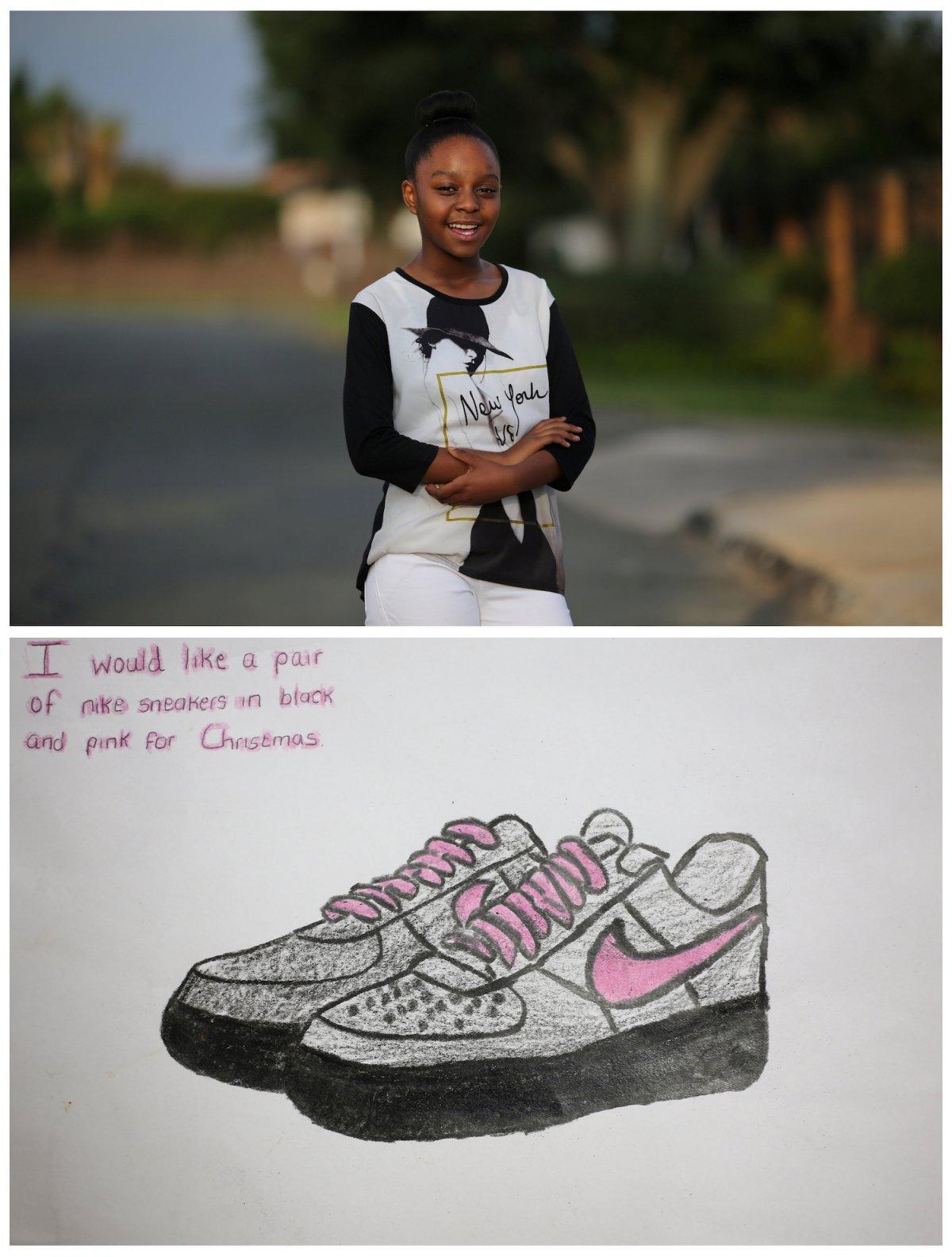 3. 12-летняя Палеса живущая в пригороде Йоханнесбурга в Южной Африке мечтает о кроссовках Nike.