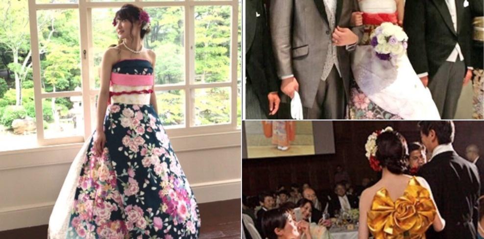 7. Обновленное фурисодэ неплохо сочетается с традицонным мужским свадебным нарядом.