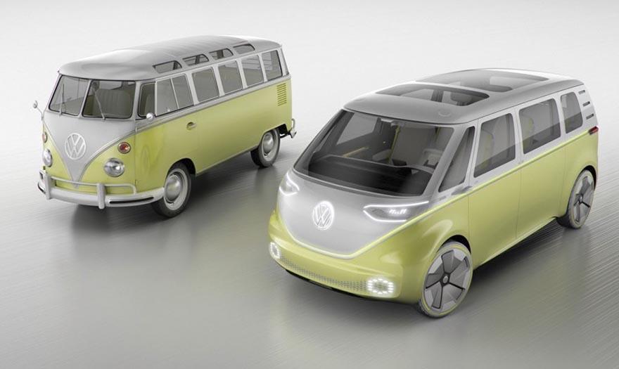 7. Volkswagen I.D. Buzz и его ранний предшественник – Volkswagen Microbus.