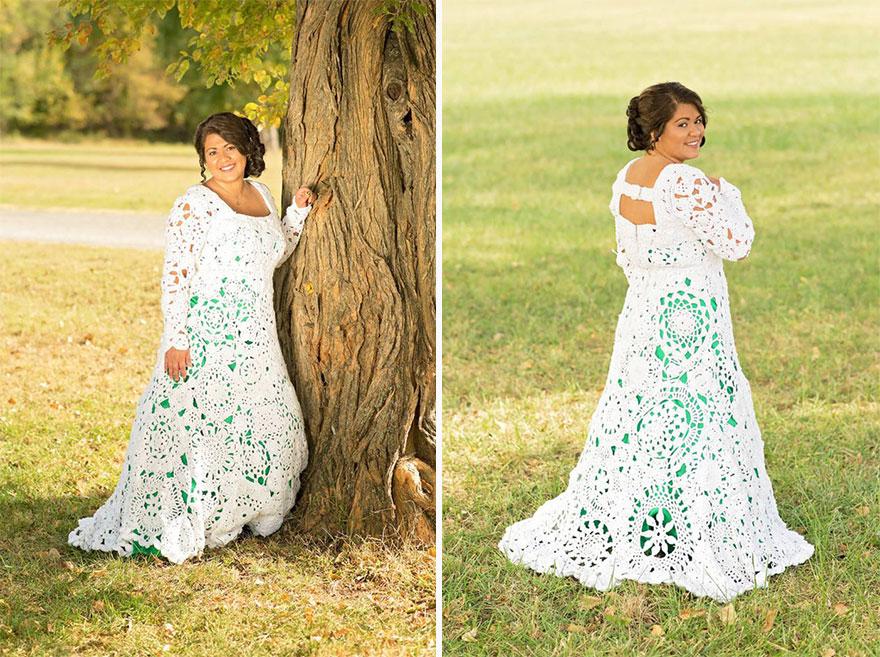 4. В итоге девушка купила на $ 70 хлопчатобумажной пряжи и решила сделать платье своими руками.
