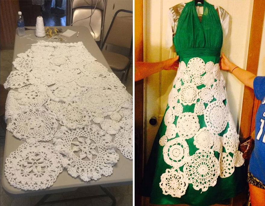 5. Когда Эбби было 3 года, ее тетя Дженнифер Воллард научила ее вязанию салфеток крючком. Повзрослев девушка помогала тете с ее различными проектами. Вот и сейчас они объединились, чтобы создать платье мечты Эбби.