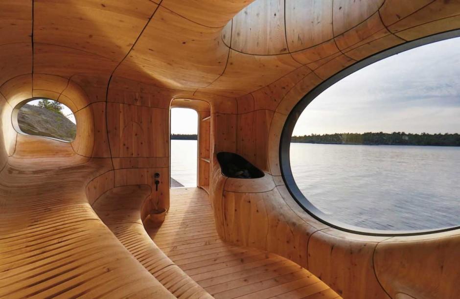 1. Не так уж часто мы можем лицезреть поистине мастерский дизайн интерьера сауны.