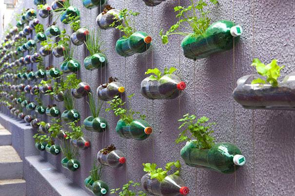 1. Как можно использовать старые пластиковые бутылки, ложки, пробки и прочий пластиковый мусор?  Например, сделать вертикальный сад из пластиковых бутылок.